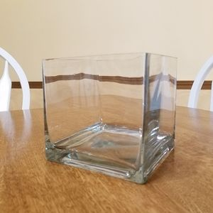 Other - Square Clear Glass Vase